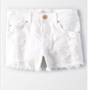 White ripped American Eagle high rise shorts
